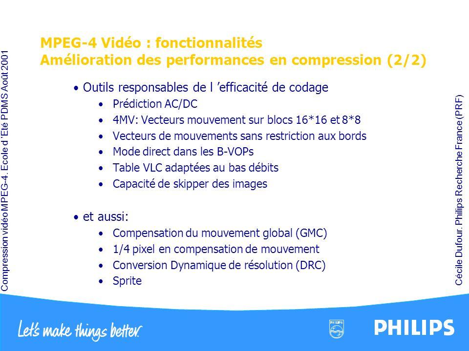 MPEG-4 Vidéo : fonctionnalités Amélioration des performances en compression (2/2)