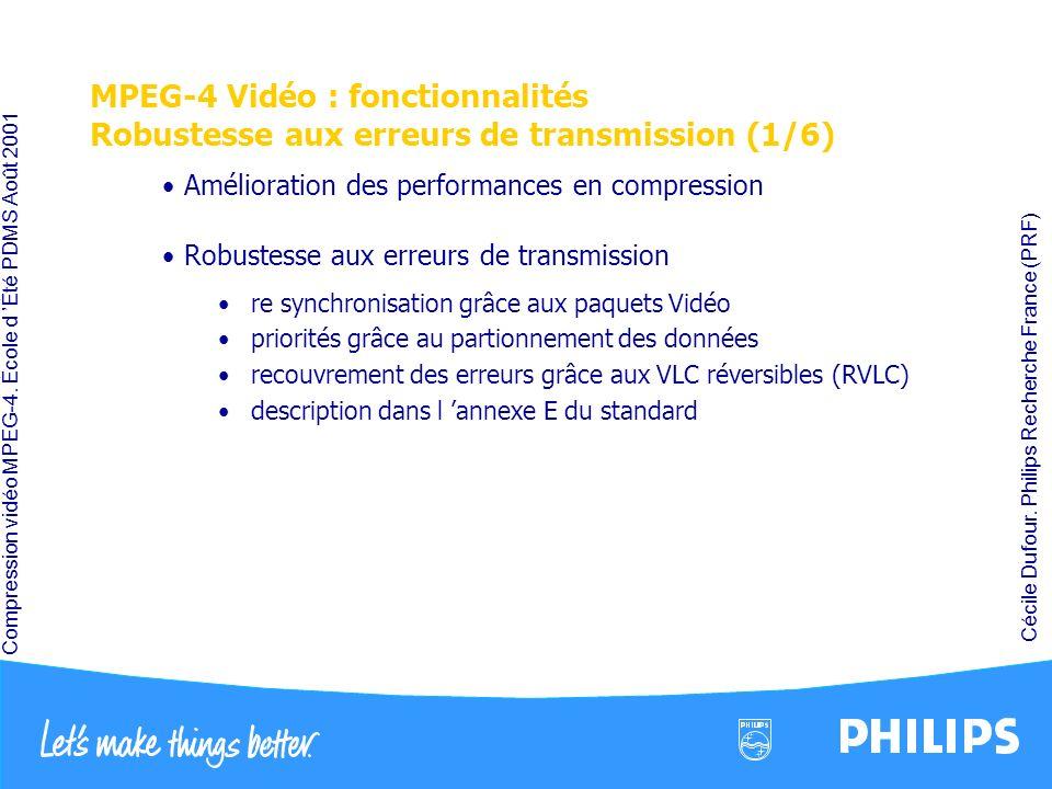 MPEG-4 Vidéo : fonctionnalités Robustesse aux erreurs de transmission (1/6)