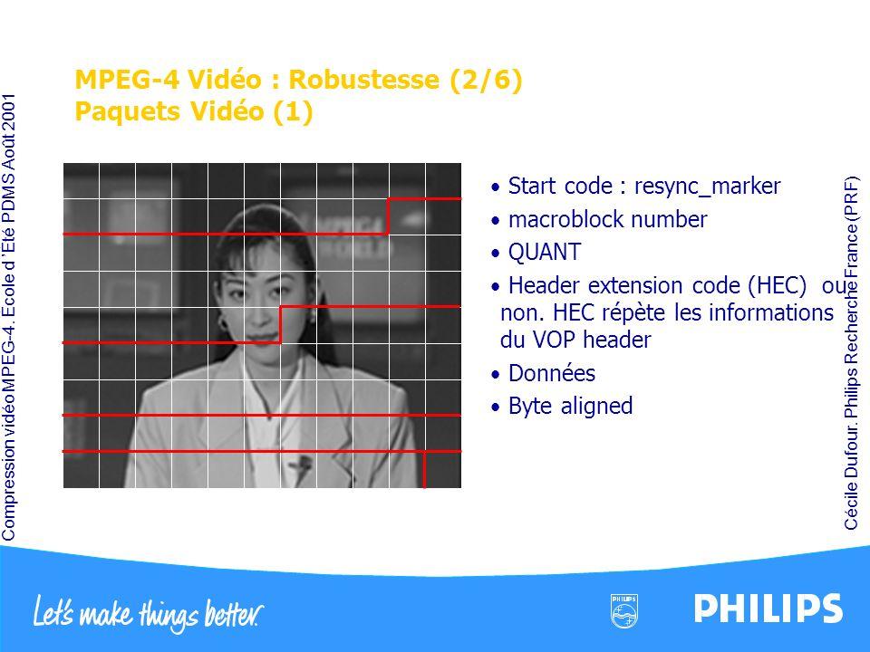 MPEG-4 Vidéo : Robustesse (2/6) Paquets Vidéo (1)