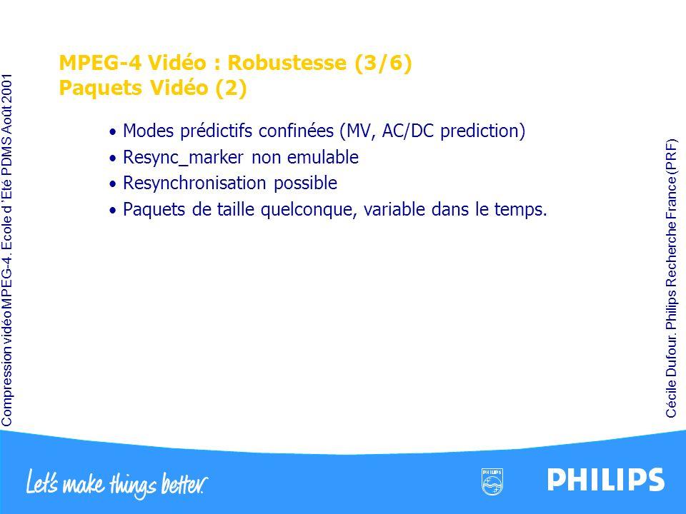 MPEG-4 Vidéo : Robustesse (3/6) Paquets Vidéo (2)