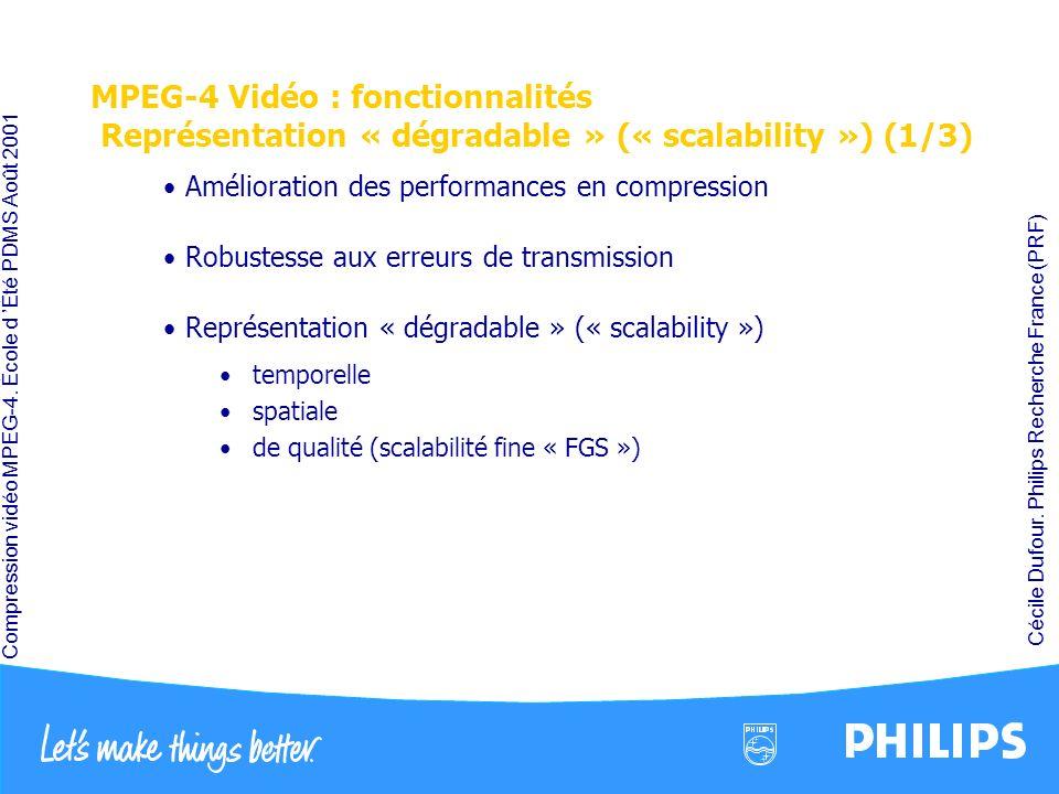 MPEG-4 Vidéo : fonctionnalités Représentation « dégradable » (« scalability ») (1/3)