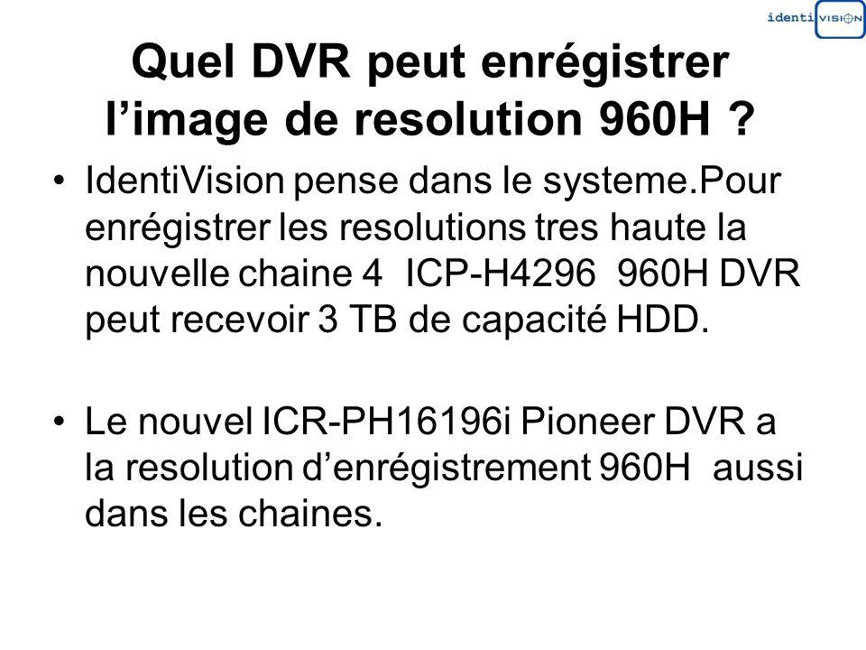 Quel DVR peut enrégistrer l'image de resolution 960H