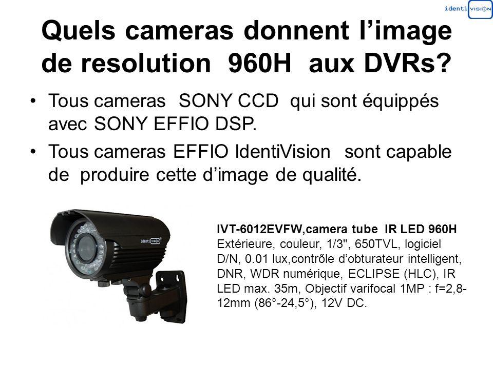 Quels cameras donnent l'image de resolution 960H aux DVRs