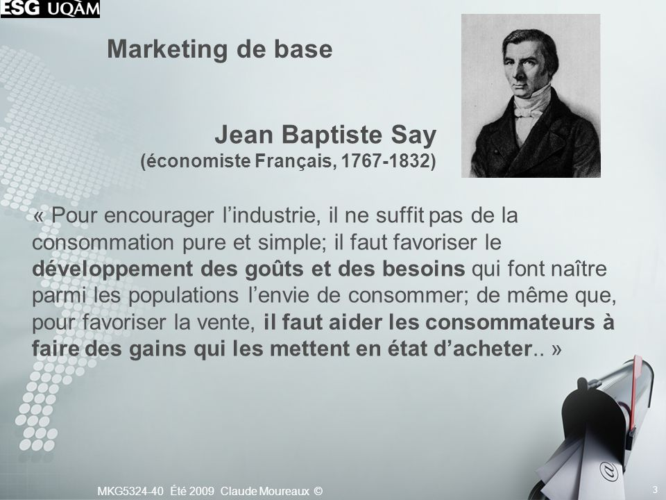Marketing de base Jean Baptiste Say