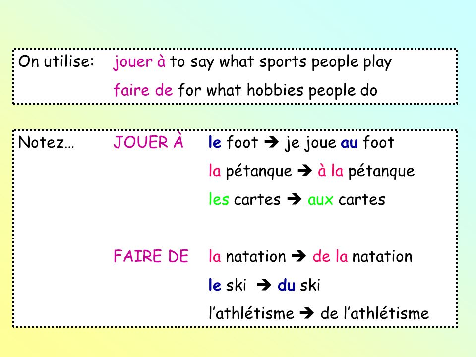 On utilise: jouer à to say what sports people play