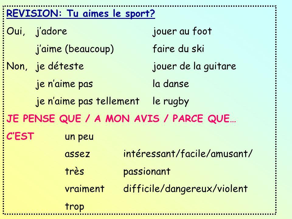 REVISION: Tu aimes le sport
