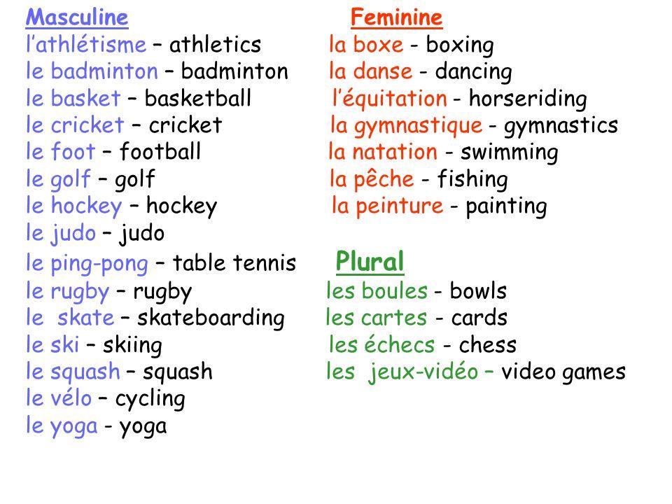 Masculine Feminine l'athlétisme – athletics la boxe - boxing. le badminton – badminton la danse - dancing.