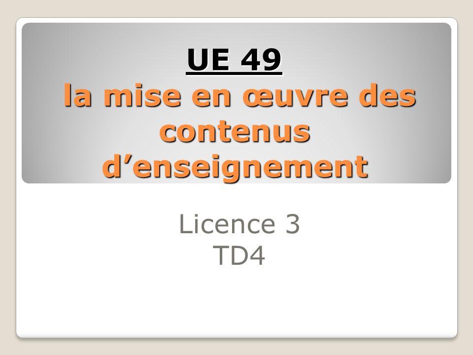 UE 49 la mise en œuvre des contenus d'enseignement