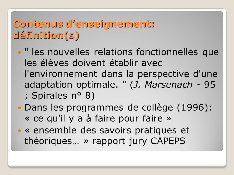 Contenus d'enseignement: définition(s)
