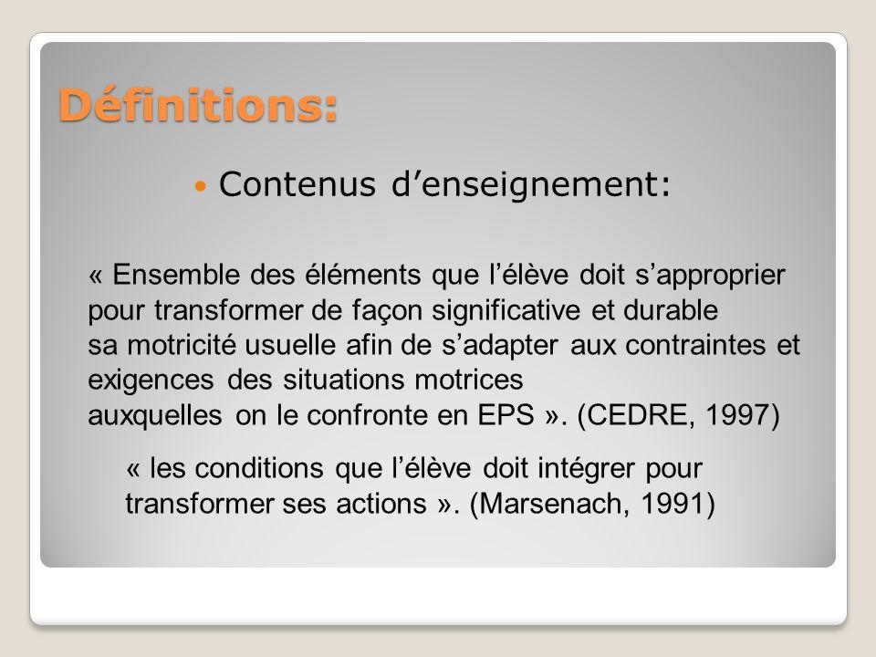 Définitions: Contenus d'enseignement: