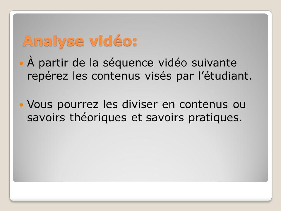 Analyse vidéo: À partir de la séquence vidéo suivante repérez les contenus visés par l'étudiant.