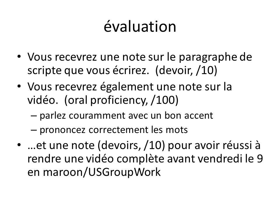 évaluation Vous recevrez une note sur le paragraphe de scripte que vous écrirez. (devoir, /10)