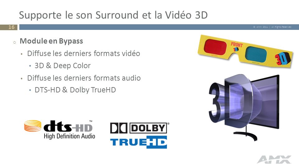 Supporte le son Surround et la Vidéo 3D