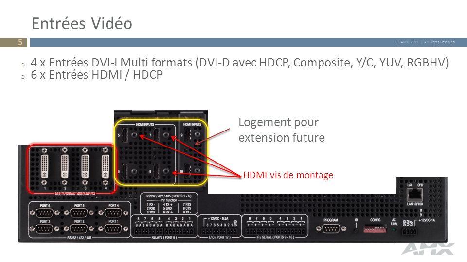 Entrées Vidéo 4 x Entrées DVI-I Multi formats (DVI-D avec HDCP, Composite, Y/C, YUV, RGBHV) 6 x Entrées HDMI / HDCP.