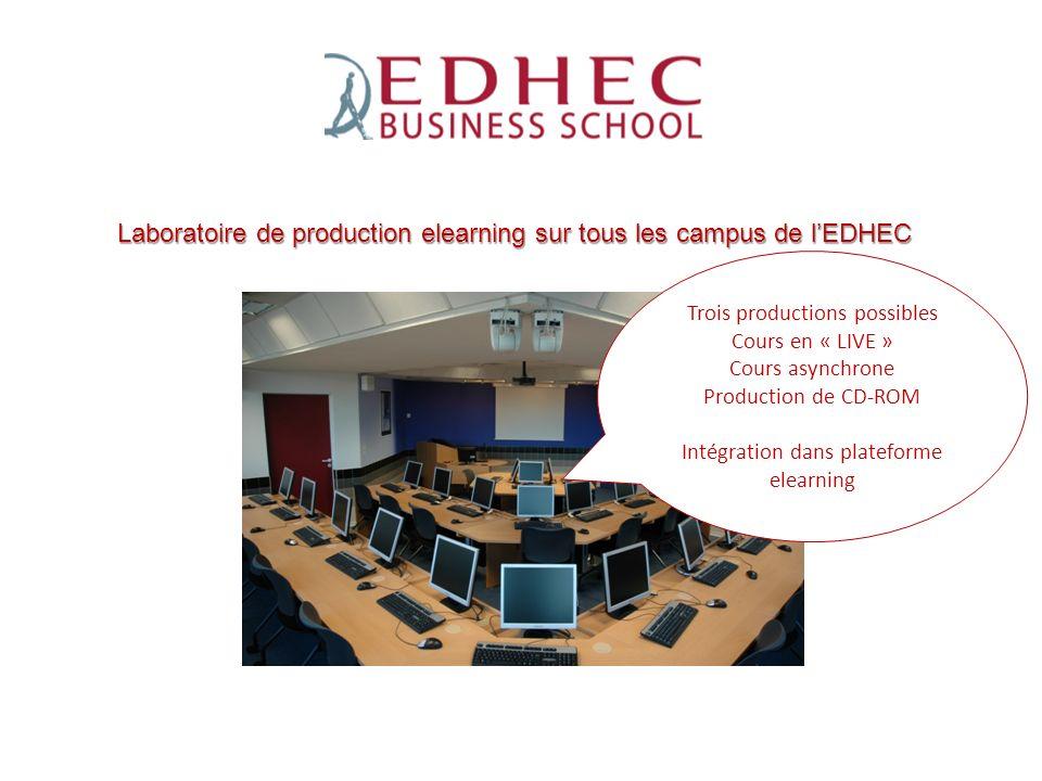 Laboratoire de production elearning sur tous les campus de l'EDHEC