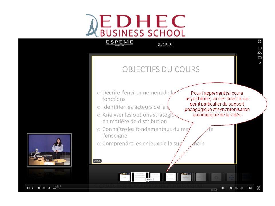 ESPEME Pour l'apprenant (si cours asynchrone), accès direct à un point particulier du support pédagogique et synchronisation automatique de la vidéo.