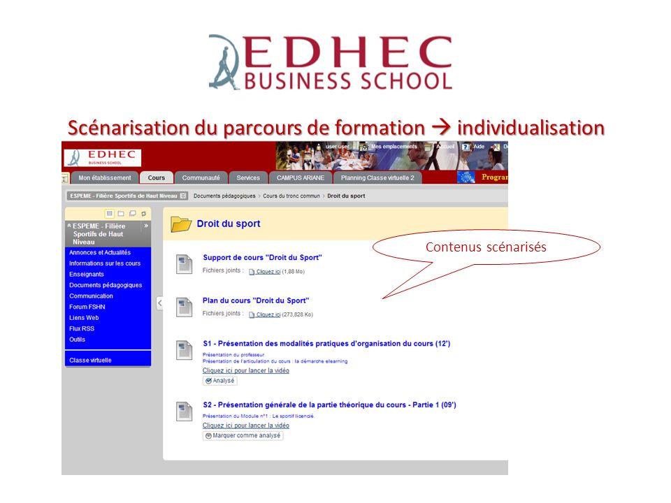 Scénarisation du parcours de formation  individualisation