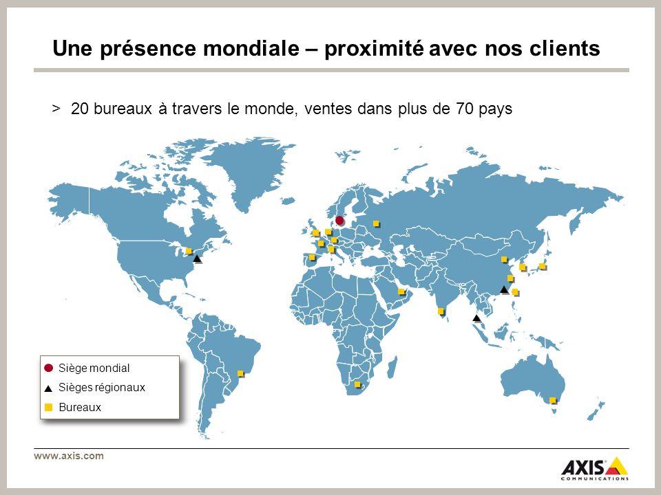 Une présence mondiale – proximité avec nos clients