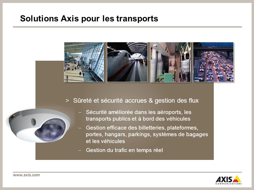 Solutions Axis pour les transports