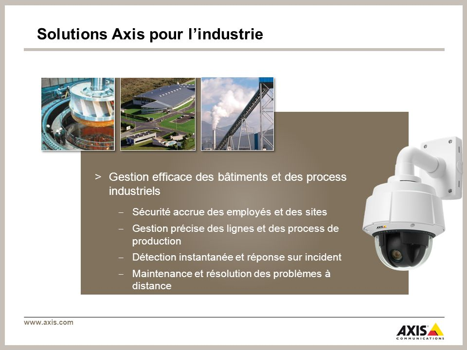 Solutions Axis pour l'industrie