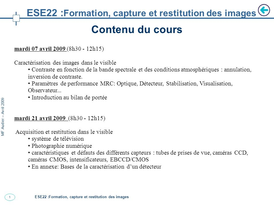 ESE22 :Formation, capture et restitution des images