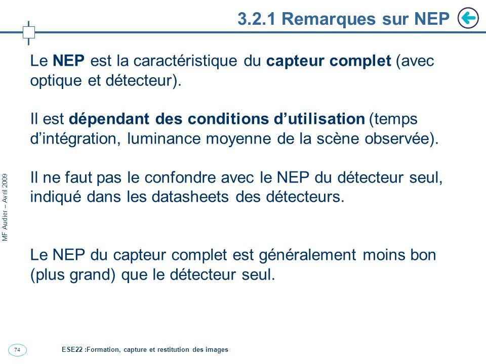 3.2.1 Remarques sur NEP Le NEP est la caractéristique du capteur complet (avec optique et détecteur).