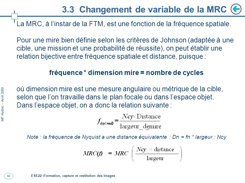 3.3 Changement de variable de la MRC