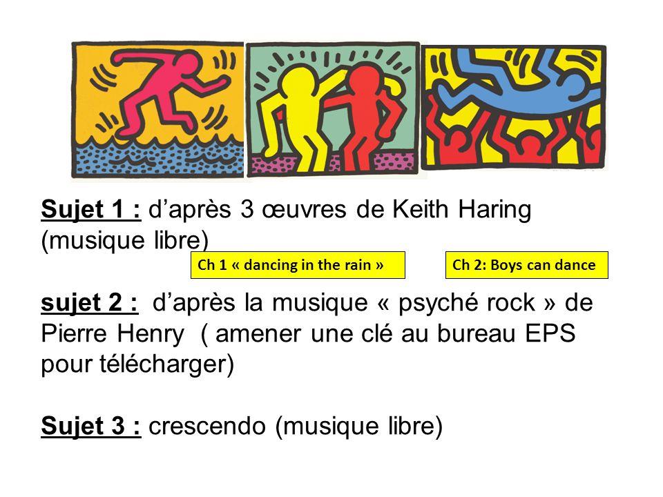Sujet 1 : d'après 3 œuvres de Keith Haring (musique libre)