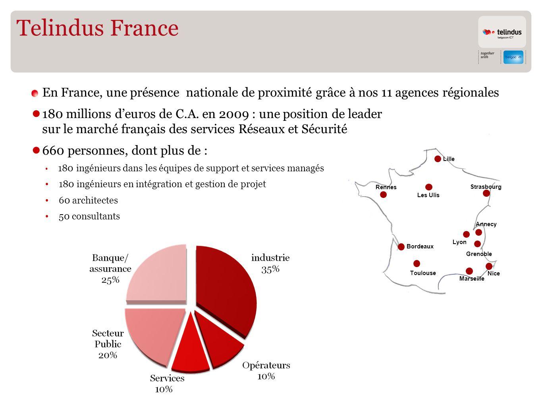 Telindus France En France, une présence nationale de proximité grâce à nos 11 agences régionales.