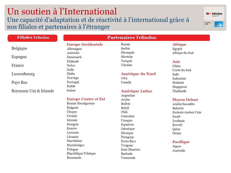 Un soutien à l International Une capacité d'adaptation et de réactivité à l'international grâce à nos filiales et partenaires à l'étranger