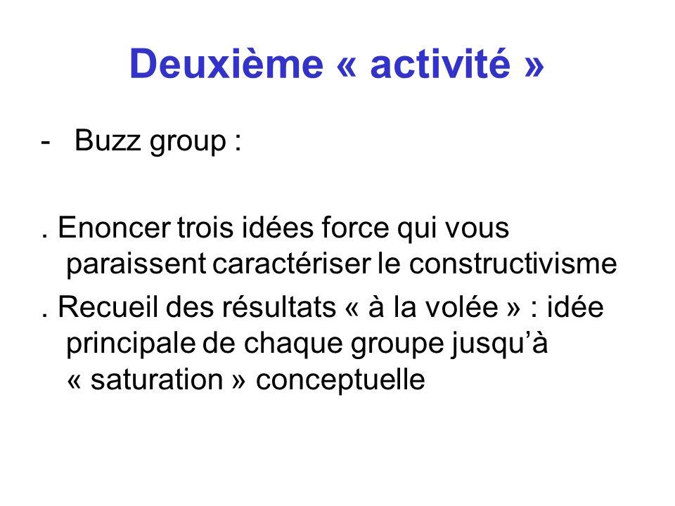 Deuxième « activité » Buzz group :