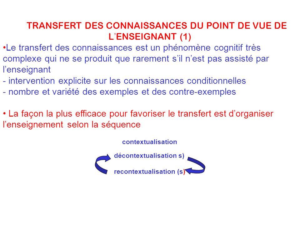 LE TRANSFERT DES CONNAISSANCES DU POINT DE VUE DE L'ENSEIGNANT (1)