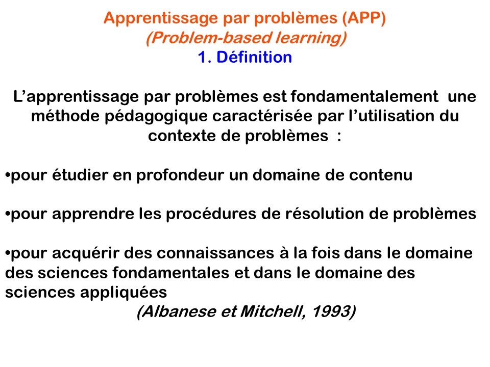 Apprentissage par problèmes (APP) (Problem-based learning)