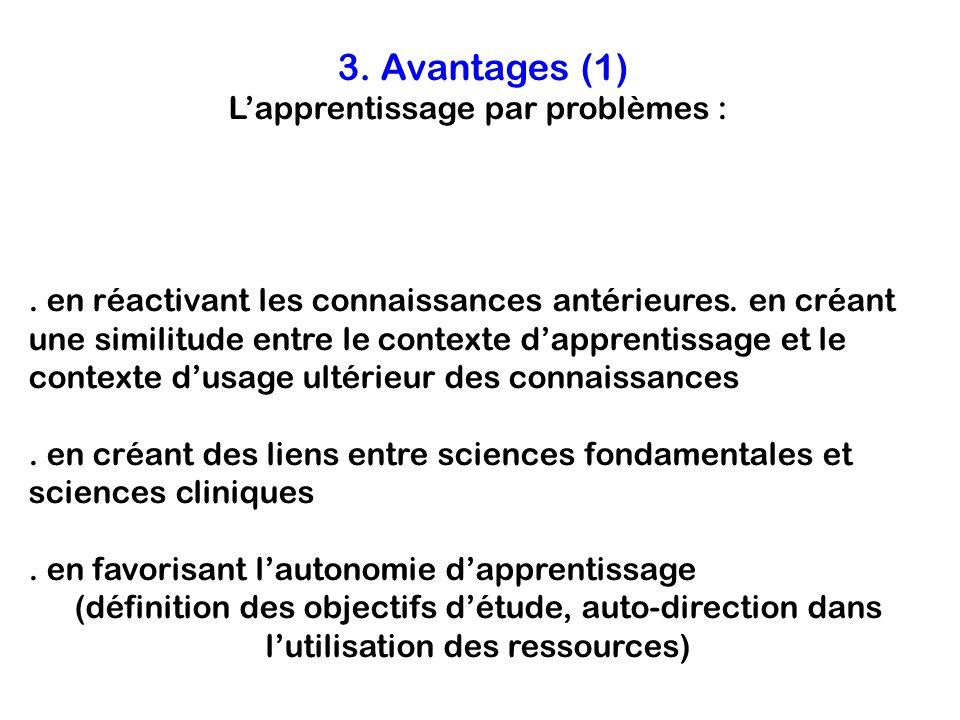 3. Avantages (1) L'apprentissage par problèmes :