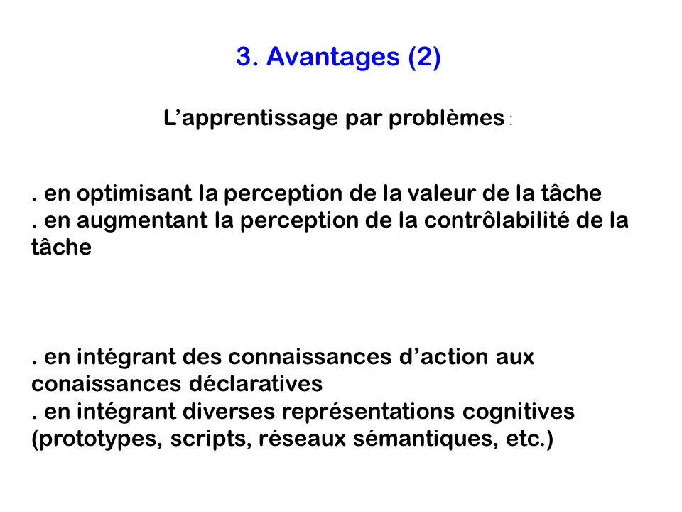 3. Avantages (2) L'apprentissage par problèmes :