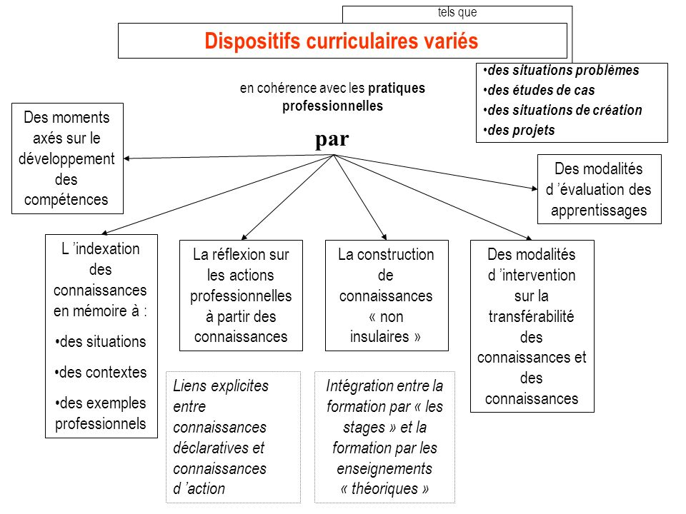 Dispositifs curriculaires variés