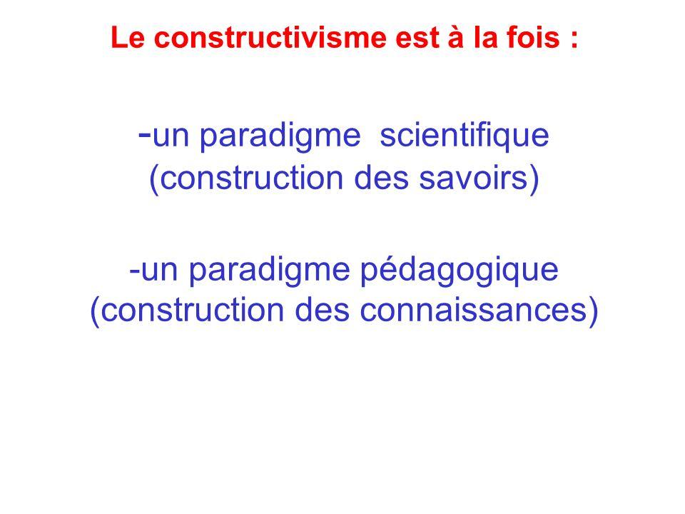 Le constructivisme est à la fois : -un paradigme scientifique (construction des savoirs) -un paradigme pédagogique (construction des connaissances)