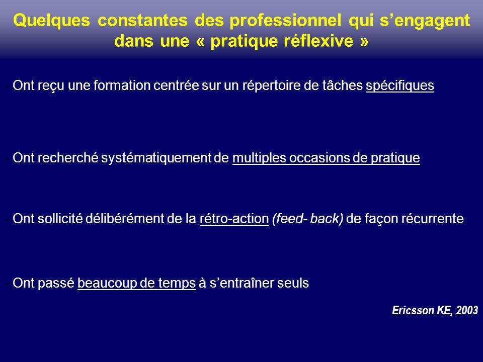 Quelques constantes des professionnel qui s'engagent dans une « pratique réflexive »