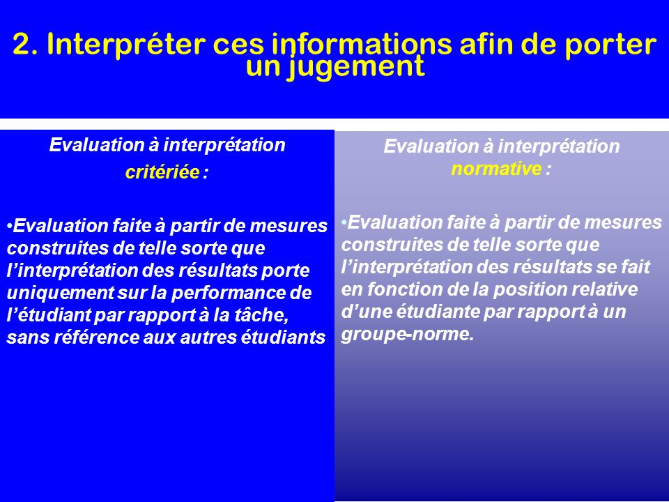 Evaluation à interprétation Evaluation à interprétation normative :