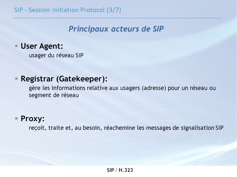 SIP - Session Initiation Protocol (3/7)