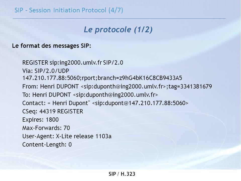 SIP - Session Initiation Protocol (4/7)