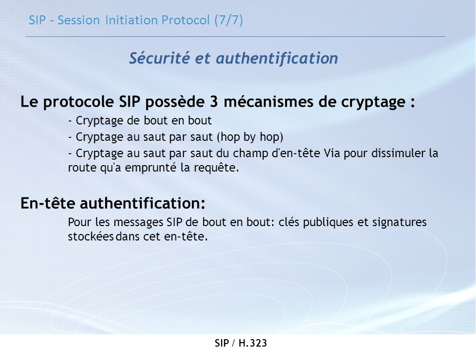 SIP - Session Initiation Protocol (7/7)
