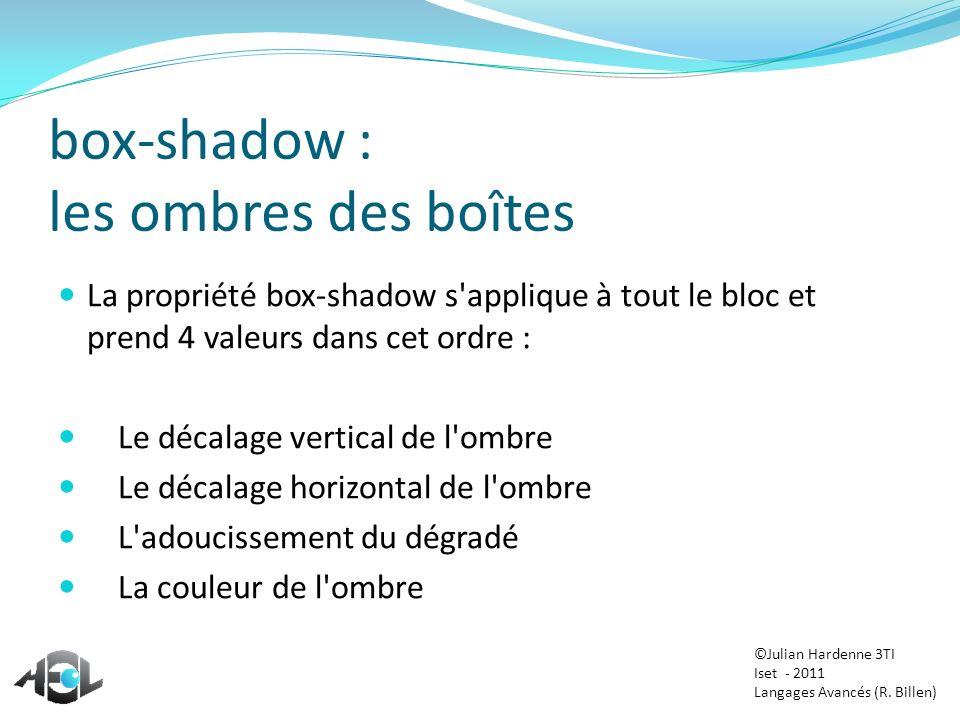 box-shadow : les ombres des boîtes