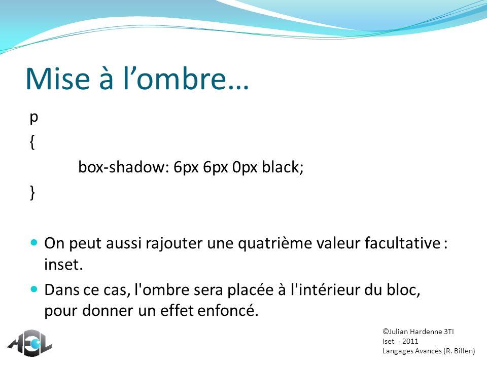 Mise à l'ombre… p { box-shadow: 6px 6px 0px black; }
