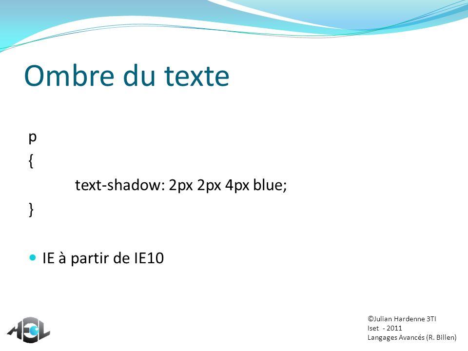 Ombre du texte p { text-shadow: 2px 2px 4px blue; }