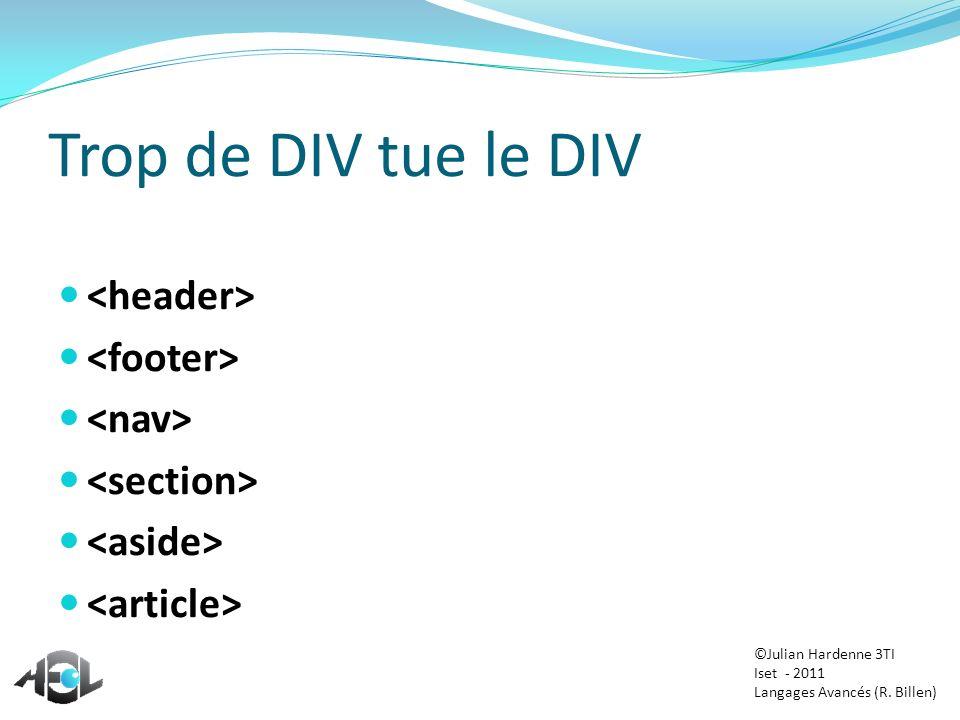 Trop de DIV tue le DIV <header> <footer> <nav>