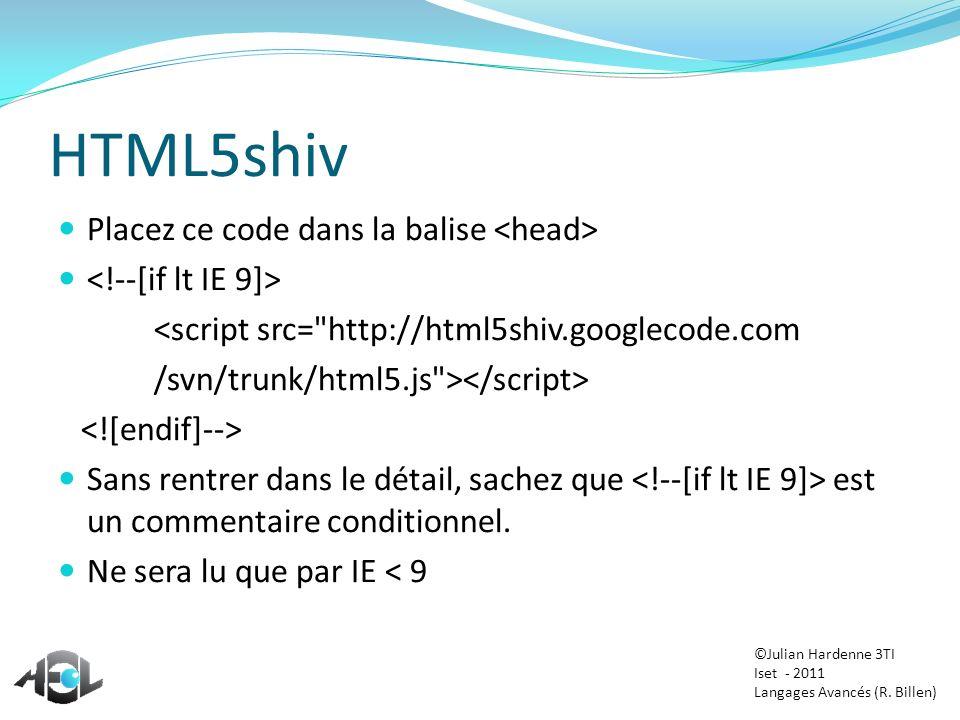 HTML5shiv Placez ce code dans la balise <head>