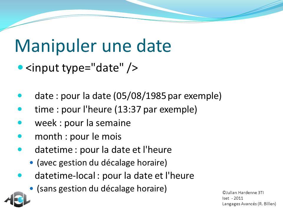 Manipuler une date <input type= date />