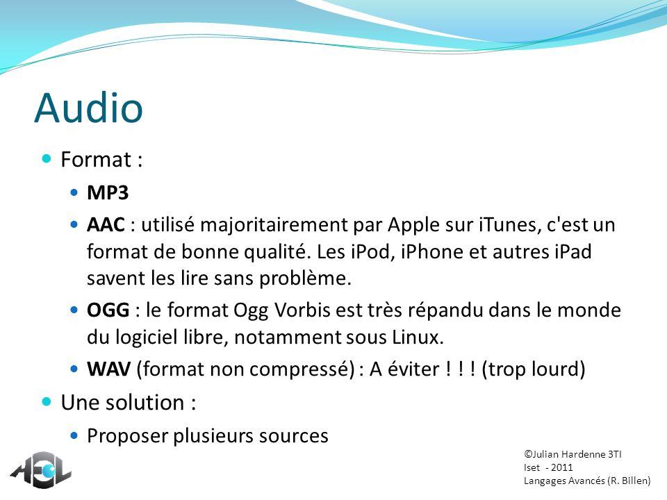 Audio Format : Une solution : MP3