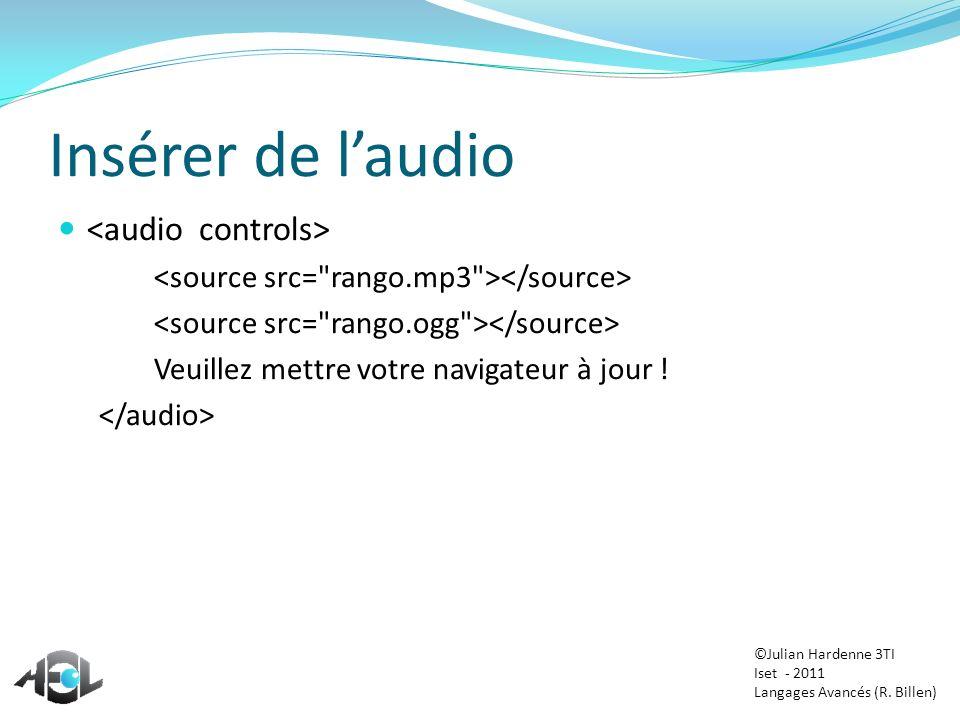 Insérer de l'audio <audio controls>